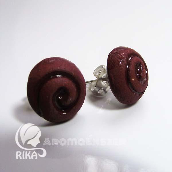 RIKA AromaÉkszer - Vörös-barna spirál mintázatú illatosítható kerámia bedugós fülbevaló