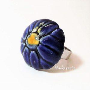 Kék virágos kerámia gyűrű -BBM Kerámia