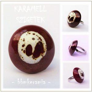 Karamell szigetek - Barna-fehér mázas kerámia gyűrű