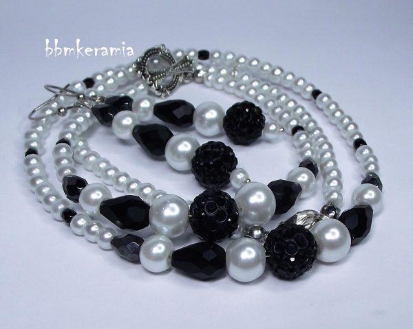TeklArt - kristálygyöngyös fekete fehér szett