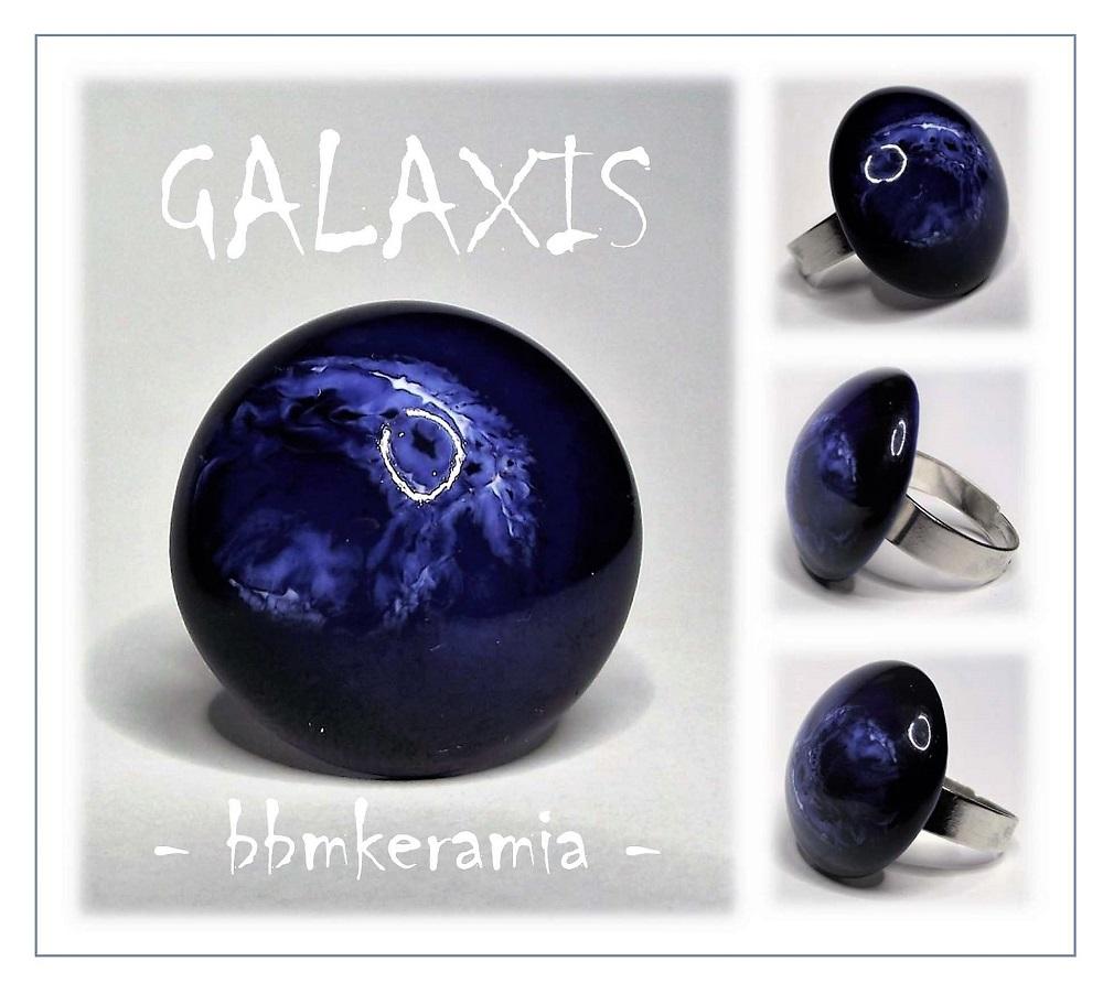 Galaxis kék-fehér mázas kerámia gyűrű