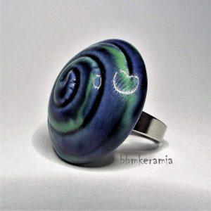Kék-zöld spirálmintás kerámia gyűrű