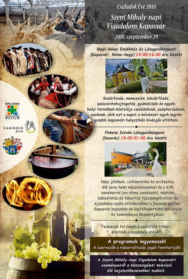 Szent Mihály-napi Vigalom Kaposvár 2018 plakát