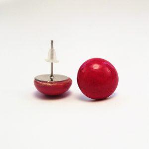 Piros kerámia pötty fülbevaló