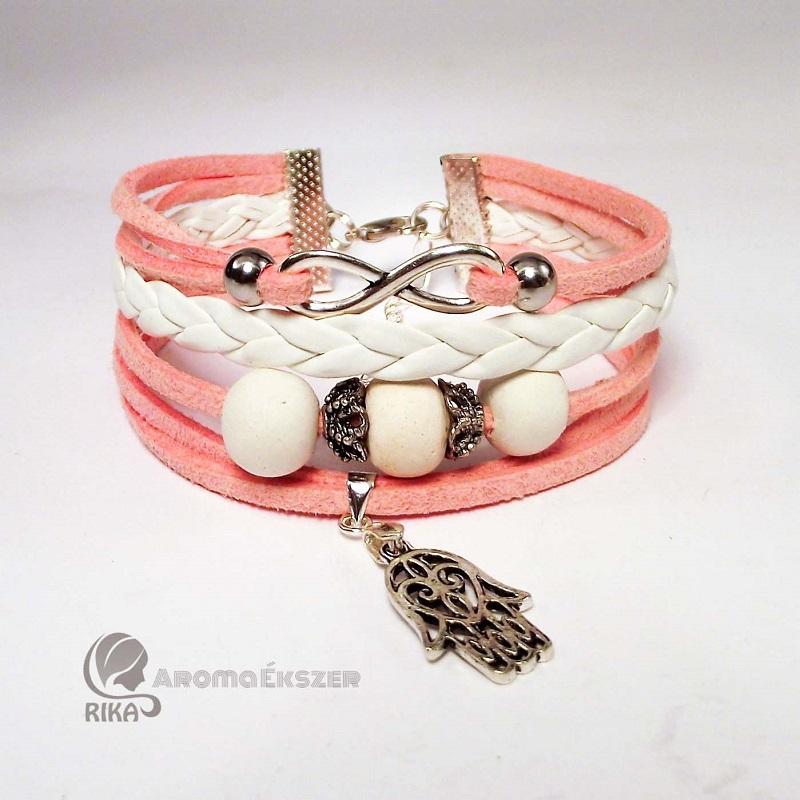 8 szálas fehér és rózsaszín aroma-karkötő kerámiagyöngyökkel végtelen jellel és Fatima védelmező kezével