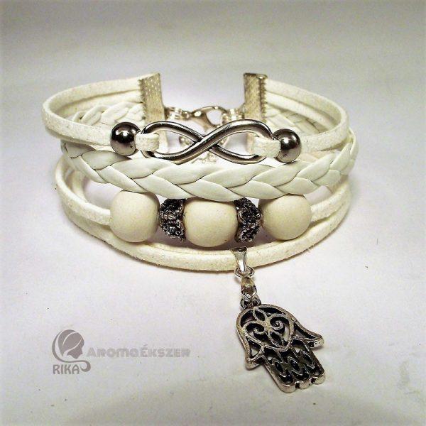 8 szálas fehér fonatos aroma-karkötő kerámiagyöngyökkel végtelen jellel és Fatima védelmező kezével