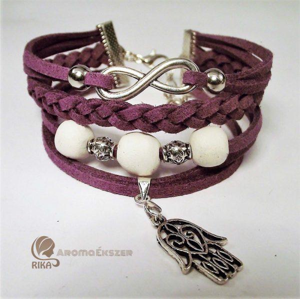 8 szálas lila hasítottbőr karkötő kerámiagyöngyökkel végtelen jellel és Fatima védelmező kezével