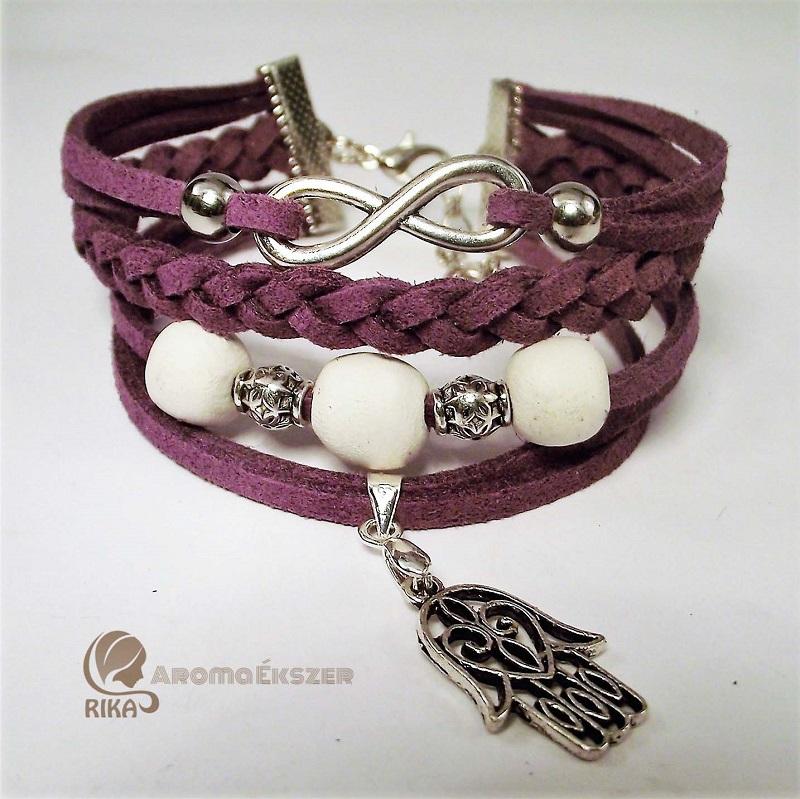 f3fe3bdcb9 8 szálas lila hasítottbőr karkötő kerámiagyöngyökkel végtelen jellel és  Fatima védelmező kezével