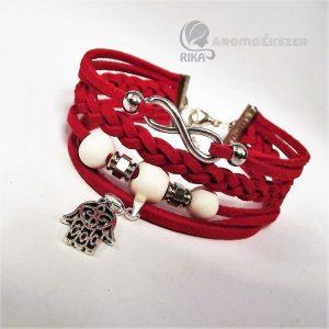 8 szálas piros hasítottbőr karkötő kerámiagyöngyökkel végtelen jellel és Fatima védelmező kezével