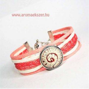 Coral csiga - fonatos többsoros karkötő aromapatenttal - www.aromaekszer.hu