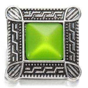 Négyzet fém ékszer patent - zöld