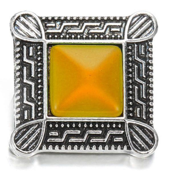 Négyzet fém ékszer patent - sárga