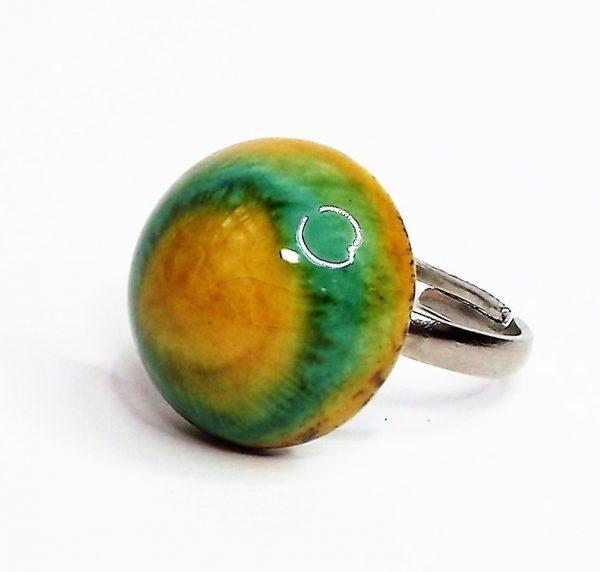 Sárkányszem - Zöld-sárga kerámia gyűrű - www.aromaekszer.hu