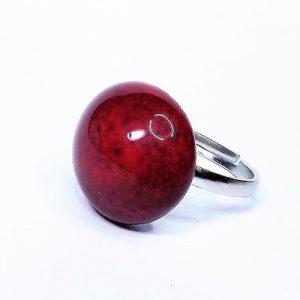 Különleges vörös-barna mázas kerámia gyűrű - www.aromaekszer.hu
