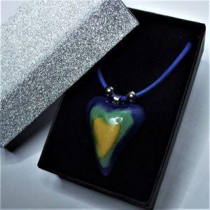 Tricolor - Kék-zöld-sárga szív aroma nyaklánc - www.aromaekszer.hu