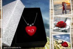 Csábító piros - nemesacél nyaklánc szív alakú medállal elegáns díszdobozban - www.aromaekszer.hu