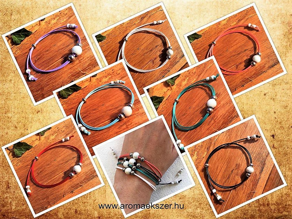 SzínVarázs kollekció - Illatosítható kerámiagyöngyös színes zsinóros karkötők - www.aromaekszer.hu