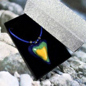 Tricolor - Kék-zöld-sárga szív aroma nyaklánc3 - www.aromaekszer.hu