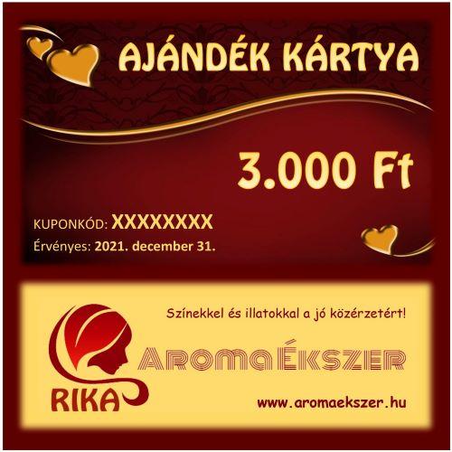 RIKA Kerámia és AromaÉkszer AJÁNDÉK KÁRTYA 3000 Ft - www.aromaekszer.hu