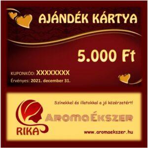 RIKA Kerámia és AromaÉkszer AJÁNDÉK KÁRTYA 5000 Ft www.aromaekszer.hu