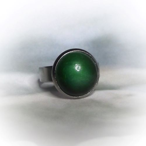 Zöld kerámiadíszes nemesacél gyűrű 1.2 - www.aromaekszer.hu