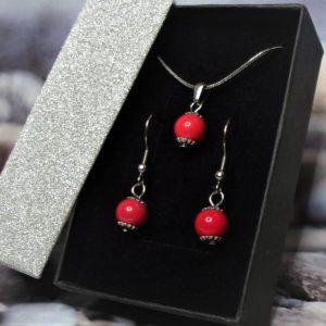 Piros kerámia-nemesacél nyaklánc-fülbevaló szett 1- RIKA Kerámia és AromaÉkszer