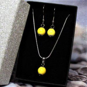Sárga kerámia-nemesacél nyaklánc-fülbevaló szett 1- RIKA Kerámia és AromaÉkszer