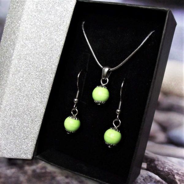 Zöld kerámia-nemesacél nyaklánc-fülbevaló szett - RIKA Kerámia és AromaÉkszer