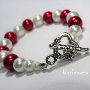 Piros-fehér teklagyöngy karkötő