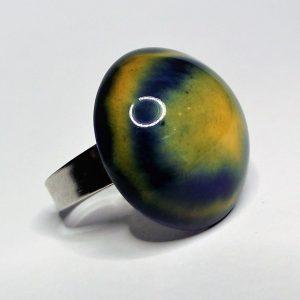FÚZIÓ - Kék-sárga mázas kerámia gyűrű - www.aromaekszer.hu