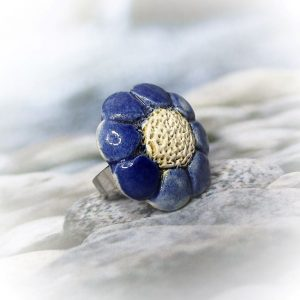 Kék virágos aromagyűrű - www.aromaekszer.hu