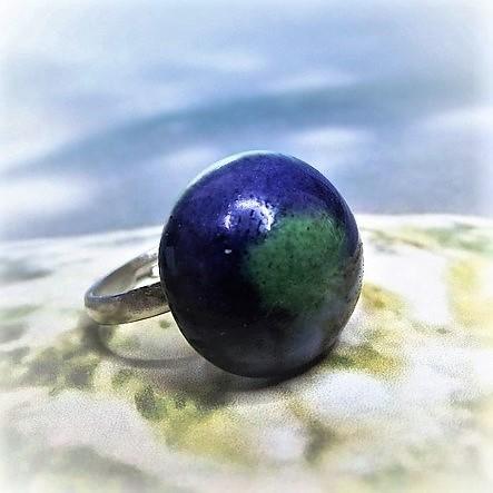 Kék-zöld mázas kerámia gyűrű - www.aromaekszer.hu