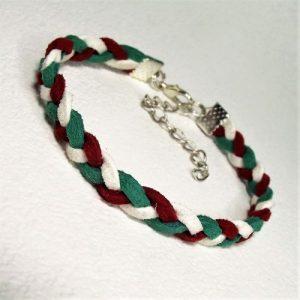 TRICOLOR - Piros-fehér-zöld hasított bőr karkötő - www.aromaekszer.hu