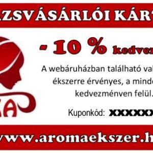 TÖRZSVÁSÁRLÓI KÁRTYA - 10 % kedvezmény - www.aromaekszer.hu