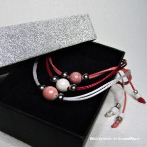 Színvarázs - rózsaszín-fehér karkötő szett díszdobozban www.aromaekszer.hu