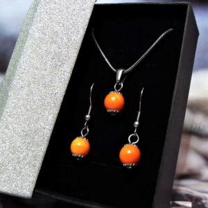 Narancssárga kerámia-nemesacél nyaklánc-fülbevaló szett- RIKA Kerámia és AromaÉkszer