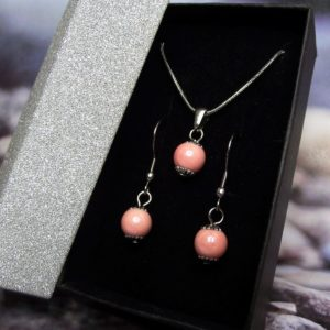 Rózsaszín kerámia-nemesacél nyaklánc-fülbevaló szett - RIKA Kerámia és AromaÉkszer